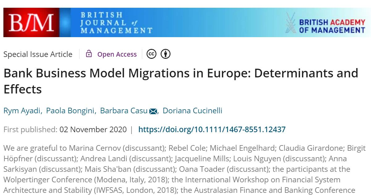 """""""Bank Business Model Migrations in Europe: Determinants and Effects"""" published by the British Journal of Management"""